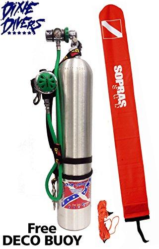 O2 CLEAN Oxygen Deco Reg Stage Set DIN Regulator Dive Rite Straps SPG Catalina 40 cf Aluminum Tank 3000 psi FREE Surface Marker Buoy Complete Set ()