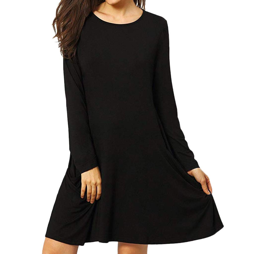 G-Real 2019 New Casual Women's Casual Pockets Plain Flowy Simple Swing T-Shirt Loose Dress Black