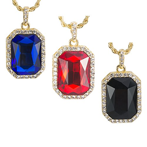 3 pcs 14K Gold Plated Hip Hop Mens Ruby Octagon Pendant Necklace - 3mm 24 Rope Chain Jewelry - Red,Black,Blue