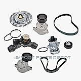 Water Pump Fan Clutch Thermostat Belt Tensioner Belts Kit (8pcs) for BMW 323Ci 323i 325Ci 325xi 328Ci X5 11281427252 11281706545 11281748130 11517527799 11527505302 11537509227 6PK1538 5PK863 New