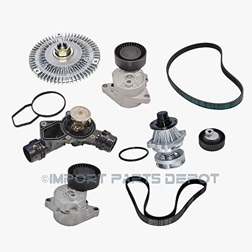 Water Pump Fan Clutch Thermostat Belt Tensioner Belts Kit (8pcs) for BMW 323Ci 323i 325Ci 325xi 328Ci X5 11281427252 11281706545 11281748130 11517527799 11527505302 11537509227 6PK1538 5PK863 New by KOOLMAN