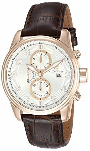 S. Coifman 'Men's' Swiss Quartz Stainless Steel and Leather Watch, Color:Brown (Model: SC0310)