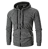 Fotoostore Men's Solid Long Sleeve Zip Hoodie Casual Hooded Sweatshirt Outwear Jacket Coat Tops (Medium, Dark Gray)
