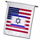 Florene Jewish Themes - Image of Israeli Flag Superimposed On USA Flag - 12 x 18 inch Garden Flag (fl_237066_1)