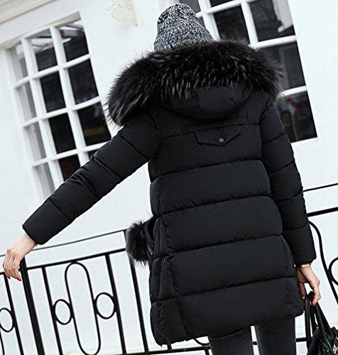 Veste Jacket Wanyang Collar Winter Capuche Femme Long Big Noir À Sections Cotton 4qvqCw