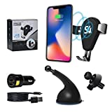 Wireless Car Charger Mount - Qi Fast Charging Adapter 3.0 - Air Vent and Windshield Holder - Auto Clamping Gravity Cradle for Cell Phone X/8/8Plus - Galaxy S9/S8/S7/S7 Edge/S6