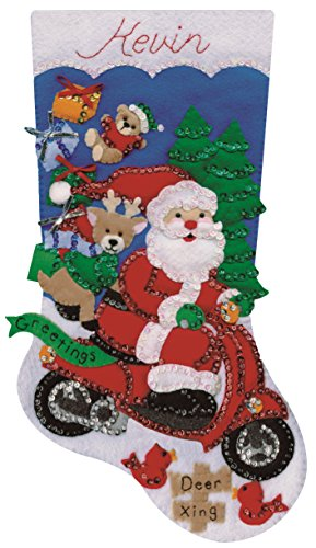 (Tobin Scooter Santa Stocking Felt Applique Kit-18 Long 18