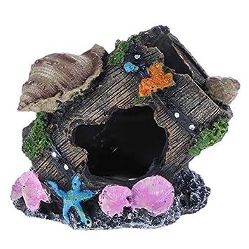 Broadroot Decoración de acuario para acuario, castillo, barril de peces, pecera, paisaje