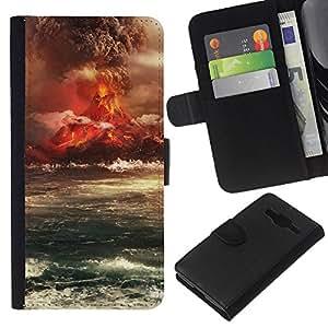 JackGot ( Eruzione del vulcano Isola ) Samsung Galaxy Core Prime la tarjeta de Crédito Slots PU Funda de cuero Monedero caso cubierta de piel