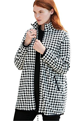 Woman Within Plus Size Zip-Front Microfleece Jacket - Ivory Houndstooth, 1X