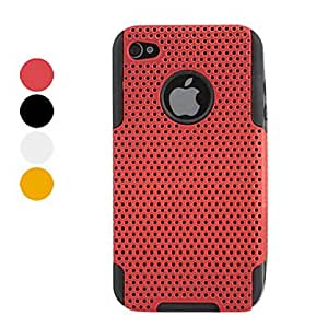GJYMesh Pattern Protective Hard Case for iPhone 4 and 4S (Assorted Colors) , White