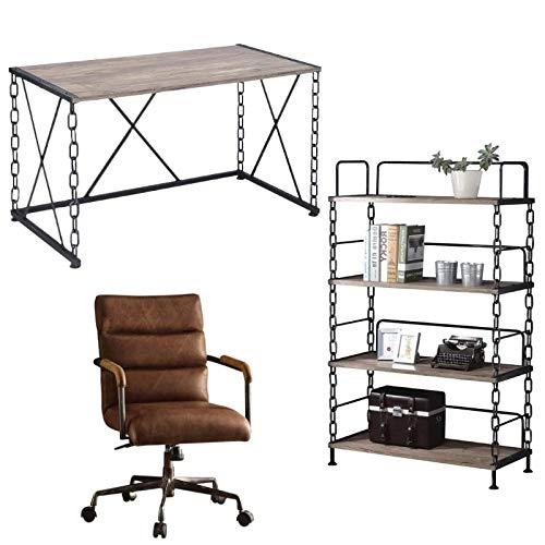 Industrial 3 Piece Set Writing Desk with Office Chair and Bookcase