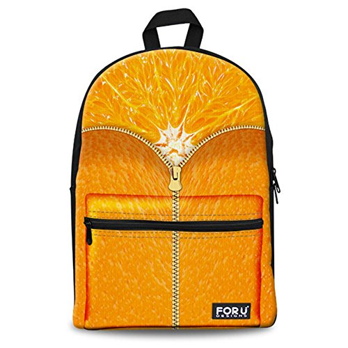 Unisex Fashion Casual School Travel Laptop Backpack Rucksack Daypack Tablet Bags (Orange) - 3