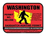 Washington Sasquatch Hunting Permit License Bigfoot Vinyl Sticker Decal