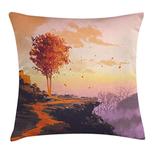 Shady Tree Studio (Fantasy Art House Decor Throw Pillow Cushion Cover by Ambesonne, Autumn Tree with Shady Falling Leaves in Wind on Top of Mountain, Decorative Square Accent Pillow Case, 16 X 16 Inches, Orange Purple)