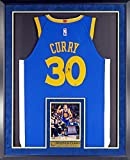 GS Warriors Stephen Curry Autographed Road Blue Jersey (w/Inset Photo &NBA CHAMPION & MVP Plate) Framed