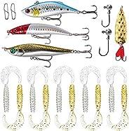 18pcs Fishing Lures Kit Fishing Tackle Box with Jig Head Fishing Hook Soft Baits Hard Baits Spoon Lure