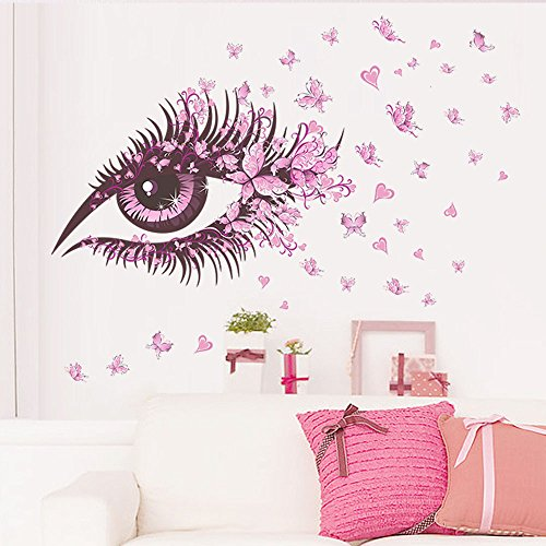 Beautiful Girls Eye Wall Stickers, E-Scenery Pink Butterfly Peel and Stick DIY 3D Wall Decals Mural Art Wallpaper for Kids Room Home Nursery Party Window -