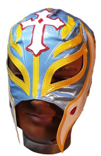 WWE Official Rey Mysterio Youth Size Light Blue & Yellow Wrestling Mask Licensed (Wwe Rey Mask Kids Mysterio For)