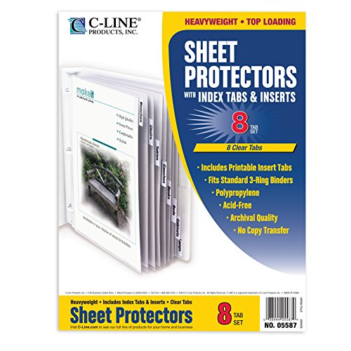 C-Line Top Loading Sheet Protectors with Tab Inserts (CLI05587) - Tabbed Protectors Sheet