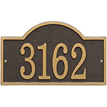 """Personalized Cast Metal Address Plaque - Custom House Number Sign - Arched Rectangle (12 x 7.25"""") Bronze w/ Gold Numbers"""