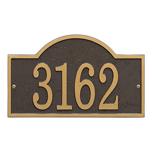House Personalized Plaque (Whitehall Personalized Cast Metal Address Plaque - Custom House Number Sign - Arched Rectangle (12 x 7.25) Bronze w/Gold Numbers)