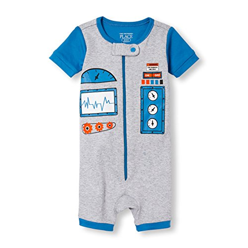 The Children's Place Baby Boys Short Sleeve One-Piece Pajamas, Robot (Mist) 78623, 6-9 Months Photo #3
