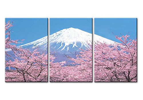 Canvas Print Wall Art Painting For Home Decor Peak Of Mount Fuji With Cherry Blossom Sakura In Blue Sky View From Lake Kawaguchiko Japan In Spring 3 Pieces Panel Paintings ()