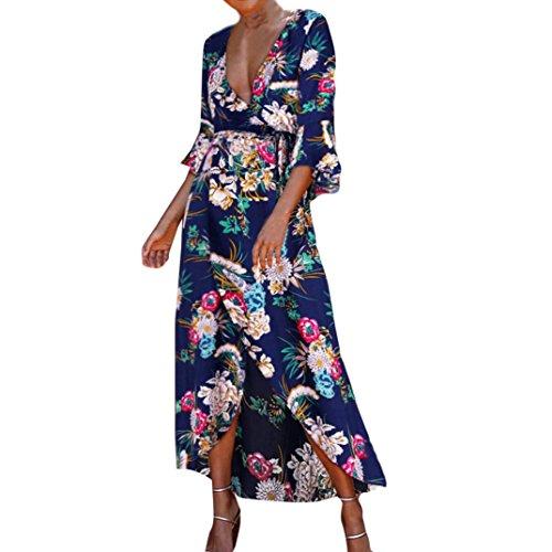 Nikuya Womens Summer Beach Sundress Floral Boho Evening Party Long Maxi Dress (S, Blue)