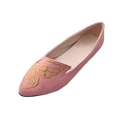 QinMM Ballerines Broderie Papillons Suede Femmes, Mode Mocassin Chaussures Cheville Dame Chaussures Plat Simples Orteils Pointues
