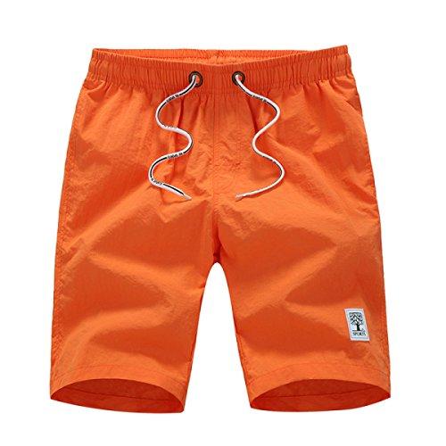 Pantalones Cortos De Algodón Ocasional De CHT Hombres De Secado Rápido Cinco Pantalones Vacaciones En La Playa Orange