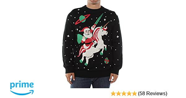 Men's Santa Unicorn Christmas Sweater - Ugly Christmas Sweater for Men
