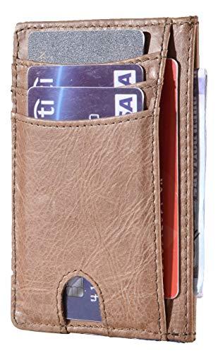 Easyoulife RFID Slim Card Wallet Leather Small Front Pocket Wallet for Men Women (A Vintage Light Brown)