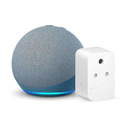 Echo Dot (4th Gen, Blue) bundle with Amazon 6A Smart Plug – Easy Set-Up