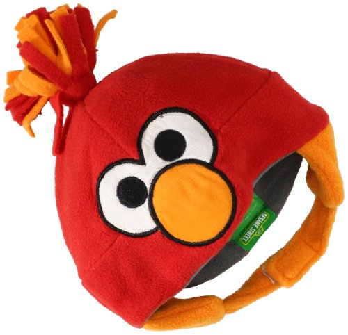 Elmo Hats (UPF 50+ Coppertone/Sesame Street UV Headwear Unisex-baby Newborn Elmo Infant Fleece Pom Pom Toque, Elmo Red, One Size)