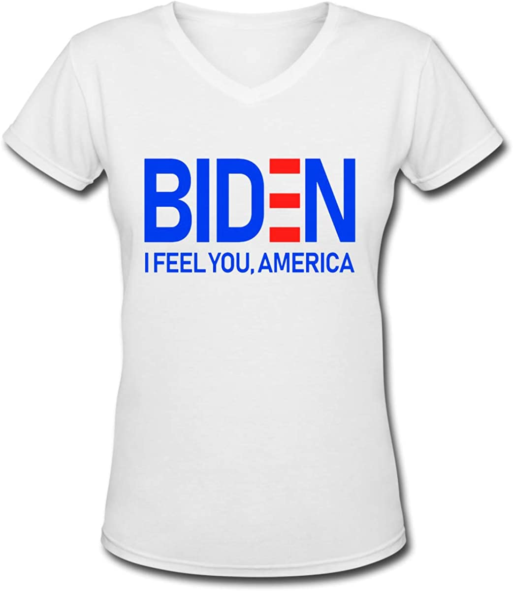 YONG-SHOP Biden Feels America Womens T Shirt Casual Cotton Short Sleeve V-Neck Graphic T-Shirt Tops Tees