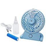 OVI Portable Desktop Mini Handheld USB Misting Fan with Personal Cooling Mist Humidifier Air Cooling Fan 3 Speed Rechargeable for Home Office and Travel Blue
