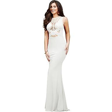 Jovani Jersey Mesh Inset Formal Dress Ivory 2