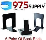 Book Ends - 975 Brand - Standard - 4-9/10'' x 5-7/10'' x 5-3/10'' - Heavy Gauge Steel - Black (6 Pair)
