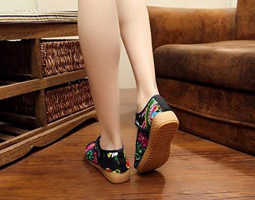 En Le Confortable coloré Tendon Denim Semelle Fuxitoggo Tissu Féminin Mode Style Chaussures 41 Taille Brodées Ethnique Décontracté Bleu vYqnnAw47