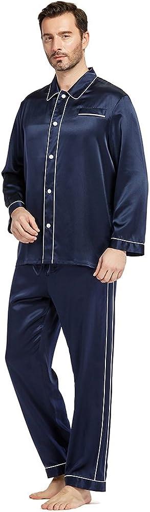 LilySilk Silk Pajamas Set for Men Christmas 22 Momme Most Comfortable Sleepwear