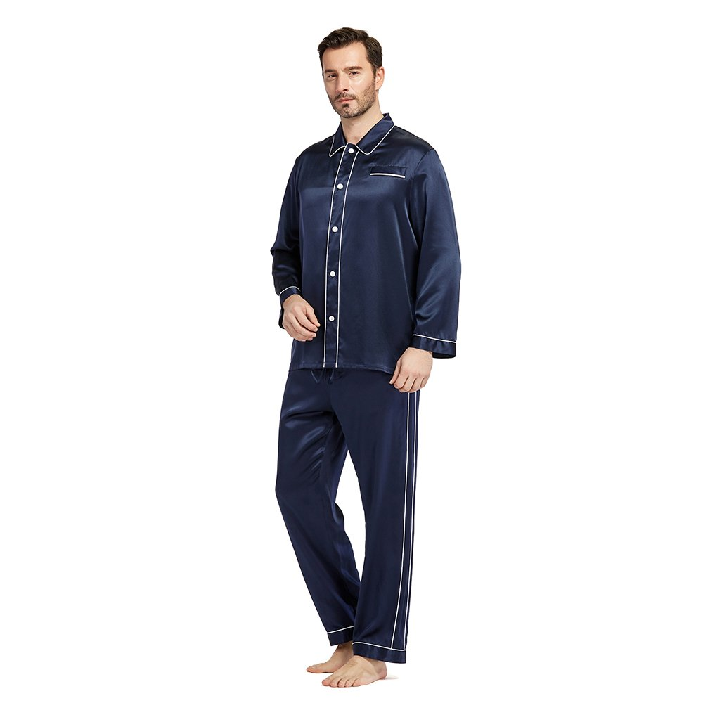 LilySilk Silk Pajamas Set for Men Summer 22 momme Most Comfortable Sleepwear Navy Blue S