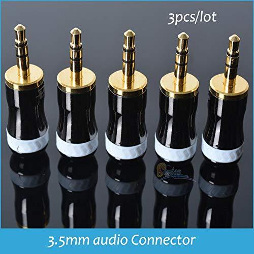 Davitu Sindax 3.5mm Audio Connector Gold Plated plug Laser Carving Stereo Headset Dual Track Earphone Plug 3pcs/lot