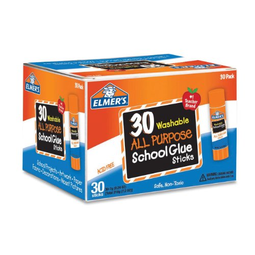 Elmers Washable All-Purpose School Glue Sticks 0.24 oz Pack of 30 (E556)