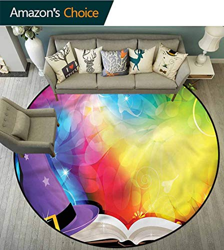 (RUGSMAT Witch Washable Creative Modern Round Rug,Colorful Witch Hat Spell Book Door Mat Indoors Bathroom Mats Non Slip Round-47)
