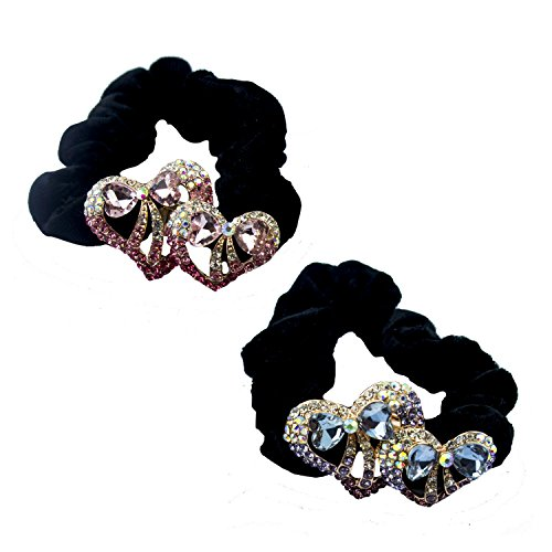 HAND A Pair of Attractive Black Velvet Hair Bands Ponytail Hair Bun Holder with Encrusted Crystal Hearts and Bows Motifs