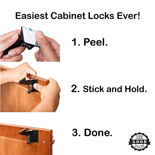 Cabinet Locks Child Safety Latches - Quick and Easy Adhesive Baby Proofing Cabinets Lock and Drawers Latch - Child Safety with No Magnetic Keys to Lose, and No Tools, Drilling or Measuring Required by The Good Stuff (Image #1)