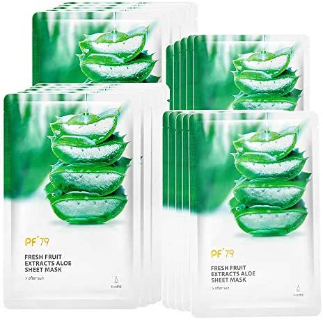 PF79 Aloe Facial Mask Essence Face Masks Hydrating Moisturizing Revitalizing Facial Mask Sheet for Dry, Sensitive and Tired Skin,Pack of 10