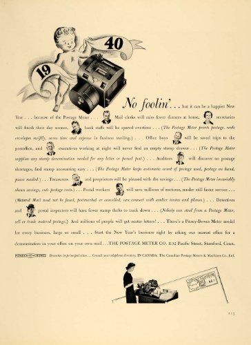 1940 Ad Postage Meter Pitney-Bowes Model New Year - Original Print Ad (Models Pitney Bowes)