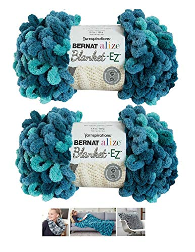 Bernat Alize EZ Blanket Yarn Bundle 100% Polyester 2 -Pack Seaport Teals Plus 3 - Yarn Loop